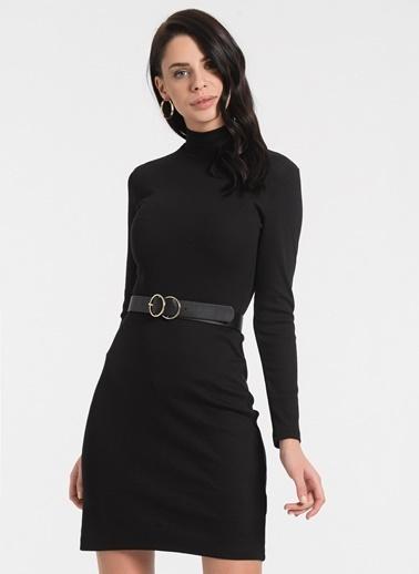 Styletag Dik Yakalı Elbise Siyah